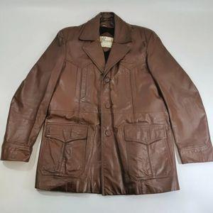 Vintage Bermans Mid Length Brown Leather Jacket